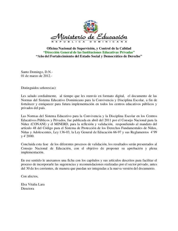 """Oficina Nacional de Supervisión, y Control de la Calidad              """"Dirección General de las Instituciones Educativas P..."""