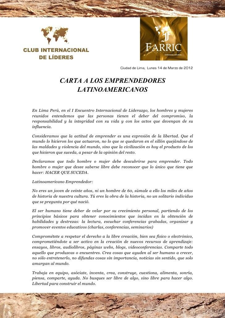 Ciudad de Lima, Lunes 14 de Marzo de 2012               CARTA A LOS EMPRE DEDORES                   LATI OAMERICA OSEn Lim...