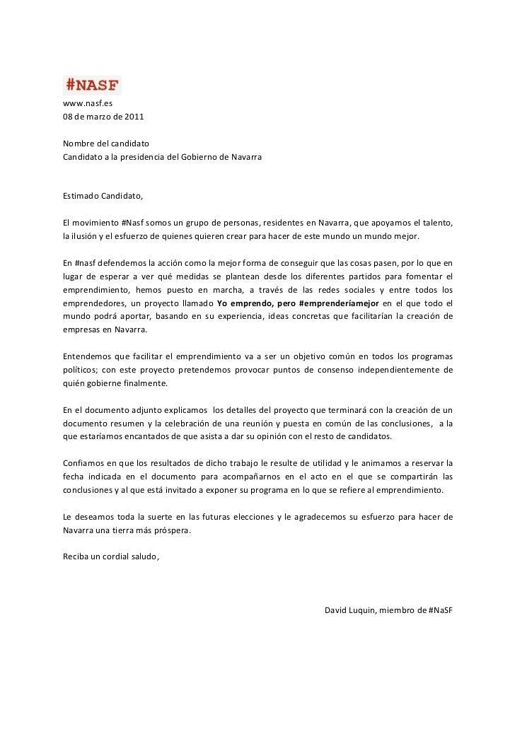 www.nasf.es 08 de marzo de 2011  Nombre del candidato Candidato a la presidencia del Gobiern...