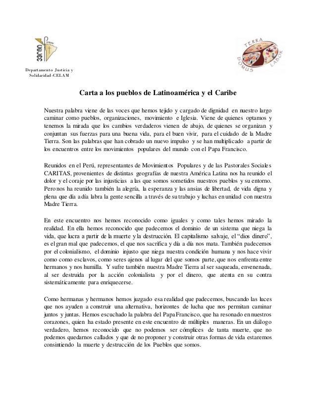 Carta a los pueblos de Latinoamérica y el Caribe Nuestra palabra viene de las voces que hemos tejido y cargado de dignidad...