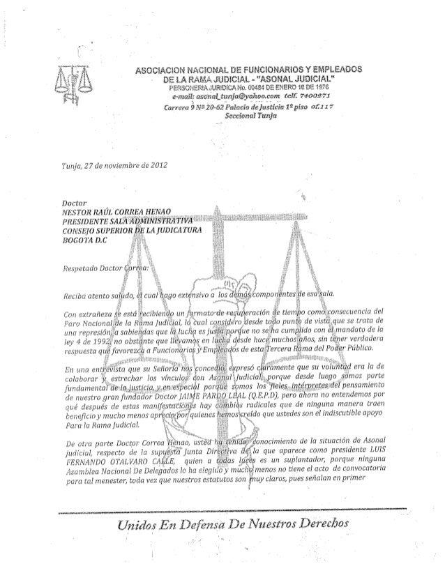 Carta al presidente de la sala administrativa por parte de baudilio pedraza