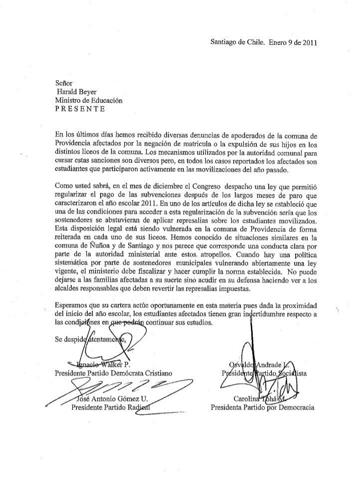 Carta a ministro de educación