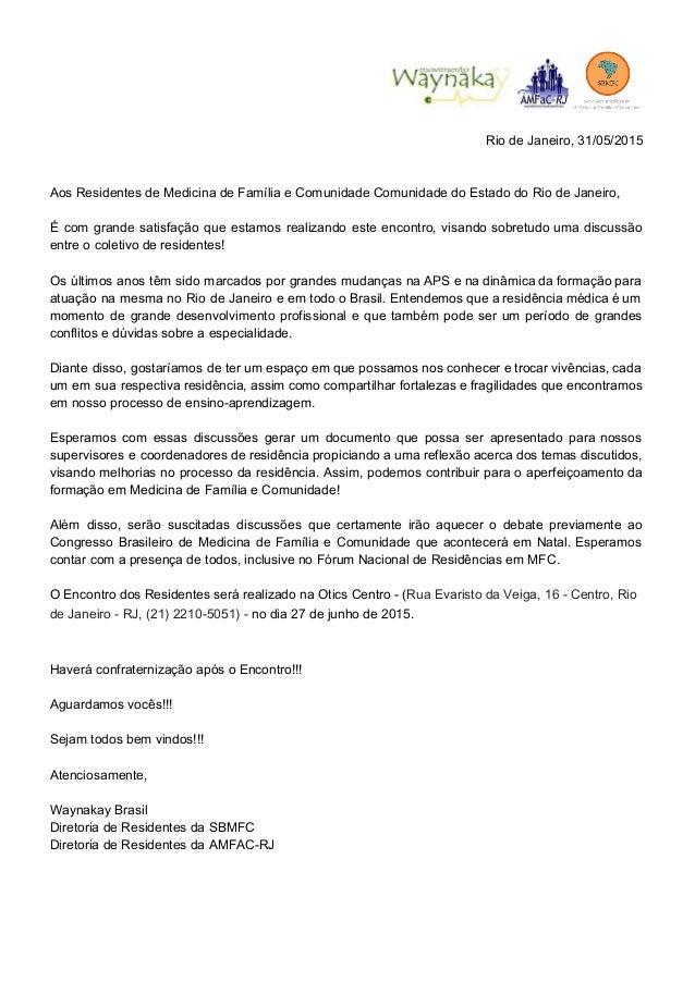 RiodeJaneiro,31/05/2015   AosResidentesdeMedicinadeFamíliaeComunidadeComunidadedoEstadodoRiodeJane...