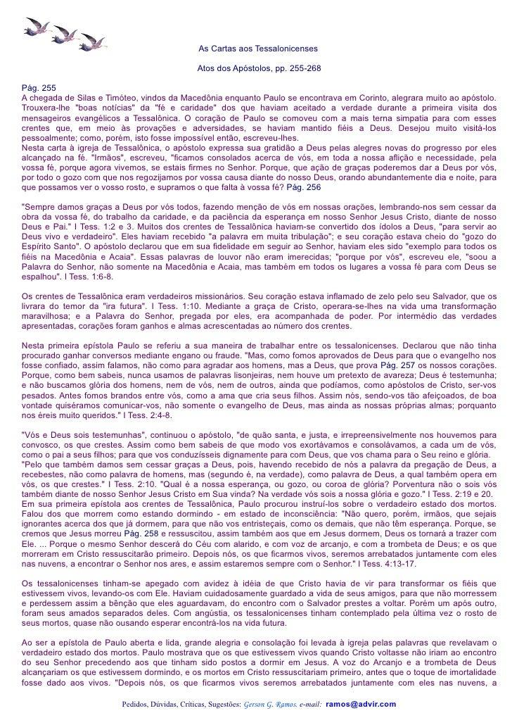As Cartas aos Tessalonicenses                                              Atos dos Apóstolos, pp. 255-268Pág. 255A chegad...