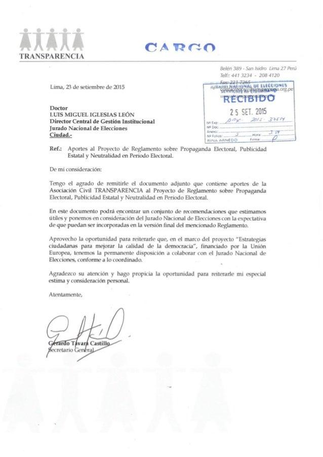 t  A y CARGO  TRANSPARENCIA  Belén 389 - San Isidro Lima 27 Perú Telf':  447 3234 - 208 4120 Lima,  Z5 de setiembre de 201...