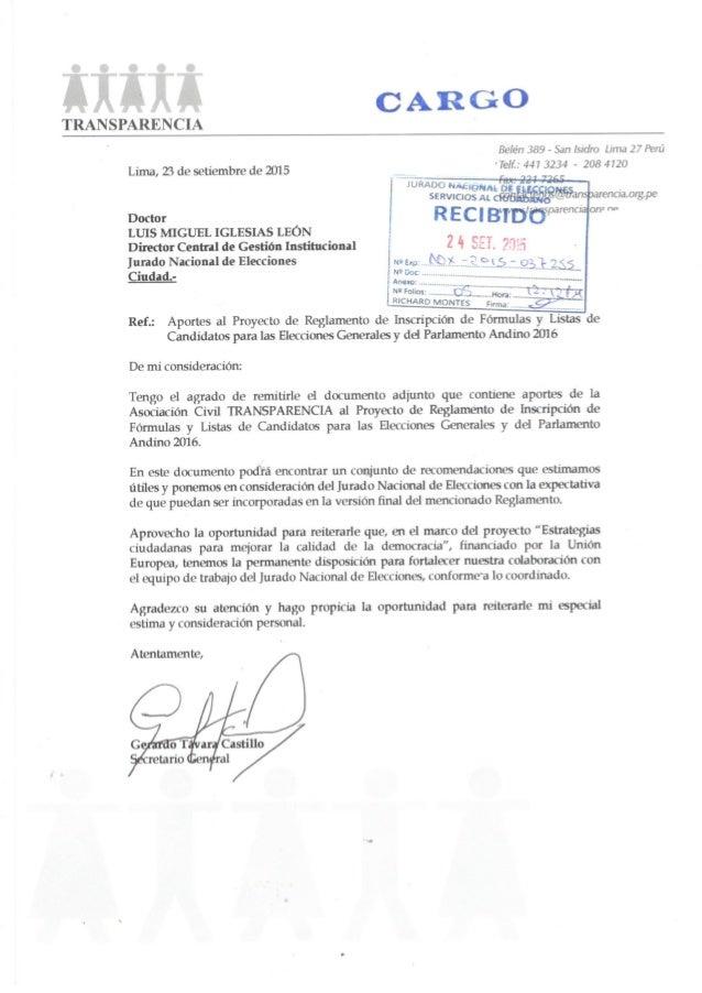 Carta - Aportes al proyecto de reglamento de inscripción de listas de candidatos