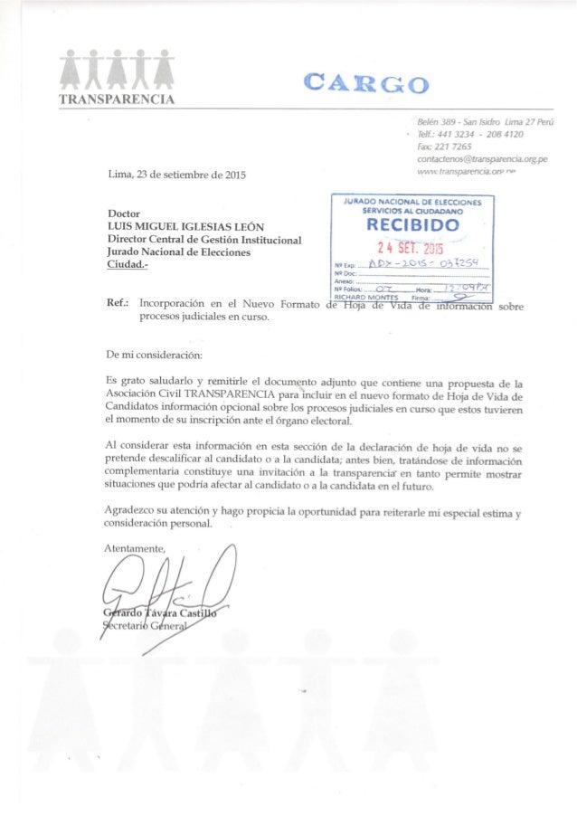 TRANSPARENCIA  Be/ én 389 — San Isidro Lima 27 Peril TeIf. : 441 3234 - 208 4120  Fax:  227 7265 contactenos@transparenCia...