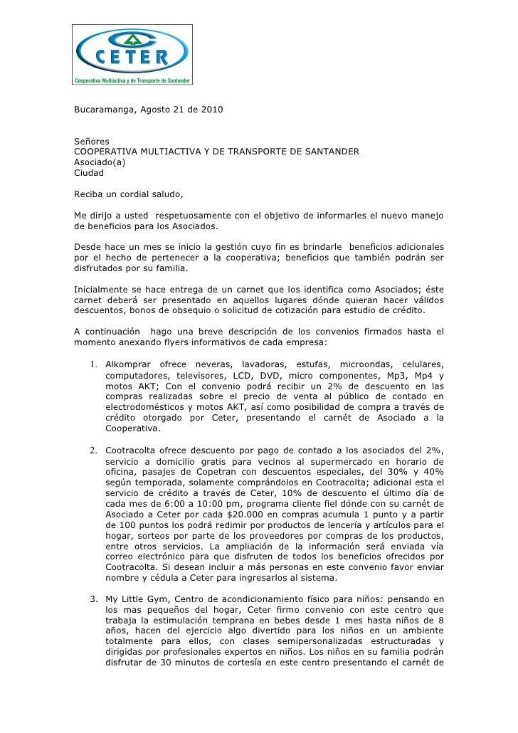 Bucaramanga, Agosto 21 de 2010   Señores COOPERATIVA MULTIACTIVA Y DE TRANSPORTE DE SANTANDER Asociado(a) Ciudad  Reciba u...