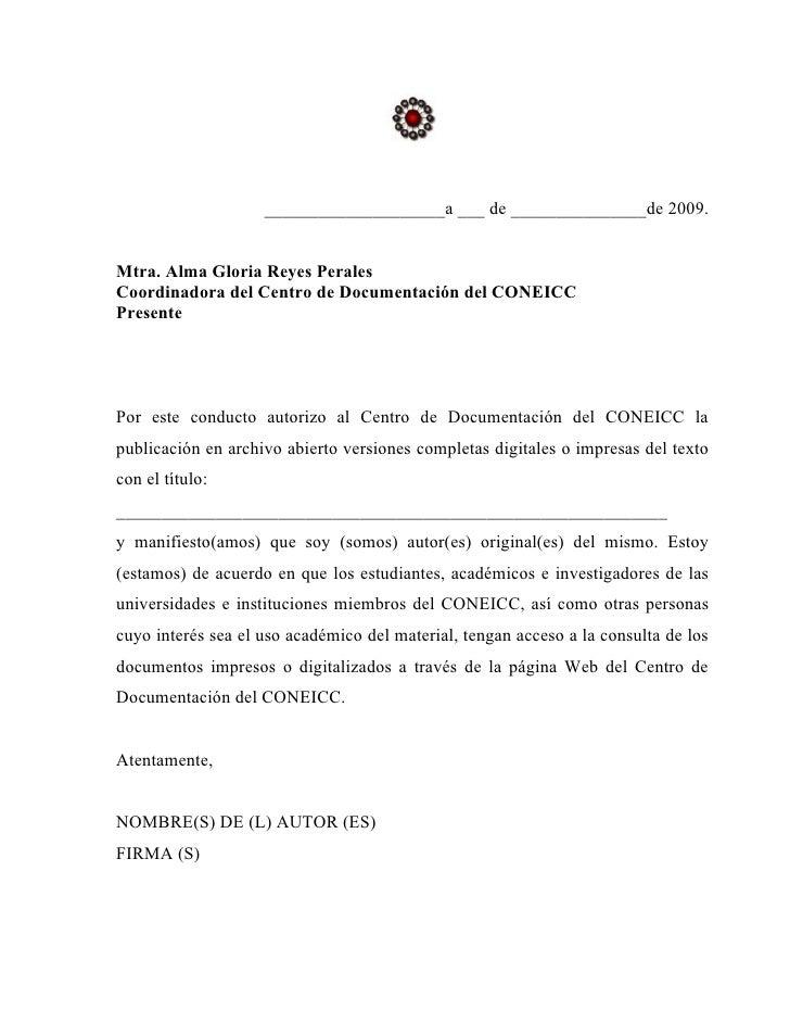____________________a ___ de _______________de 2009.   Mtra. Alma Gloria Reyes Perales Coordinadora del Centro de Document...