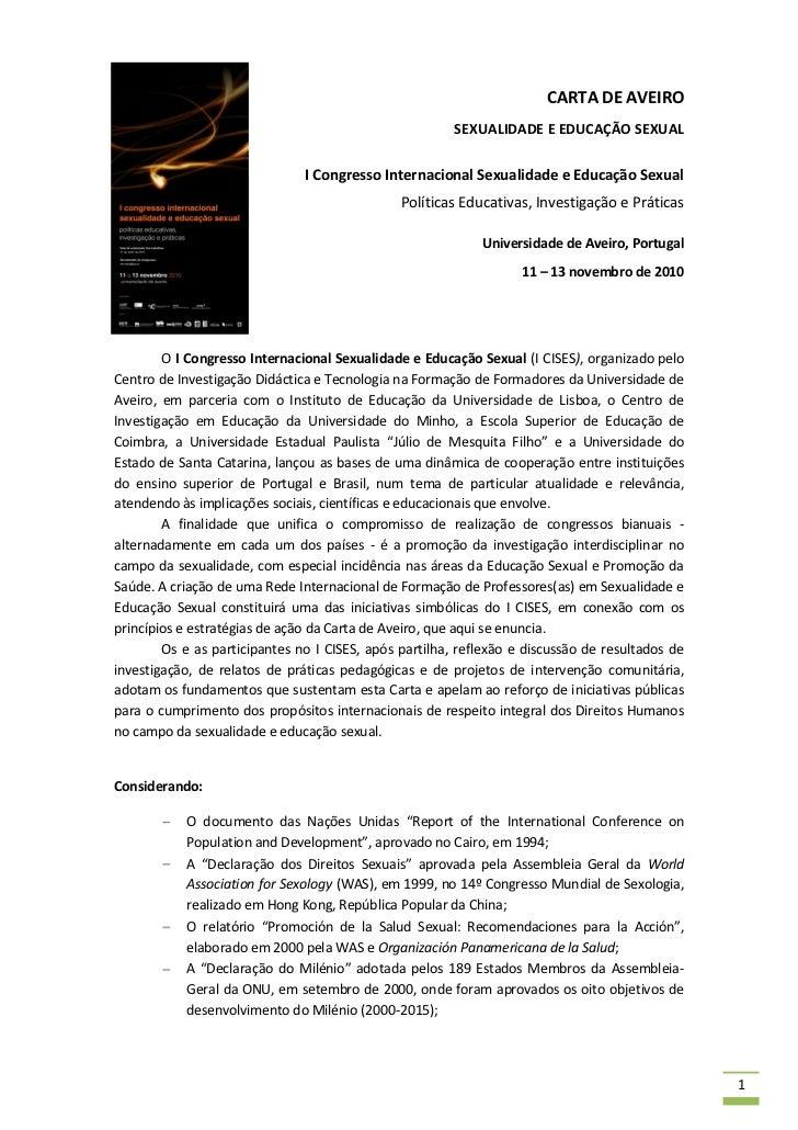 CARTA DE AVEIRO                                                        SEXUALIDADE E EDUCAÇÃO SEXUAL                      ...