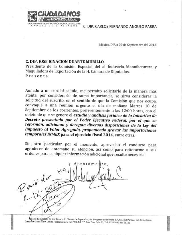 Oficio del Dip. Carlos Angulo (09/09/13)