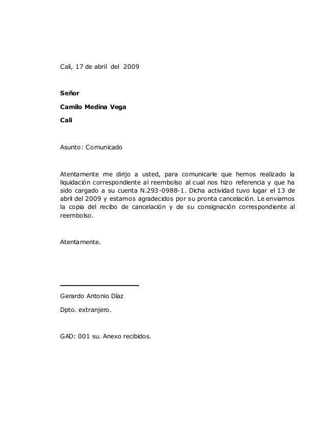 cali 17 de abril del 2009 seor camilo medina vega cali asunto comunicado atentamente modelo carta comunicado prxima slideshare