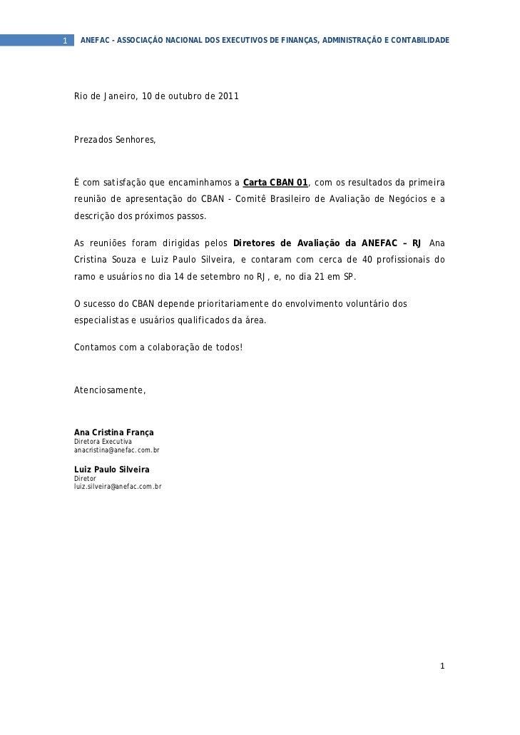 1  ANEFAC - ASSOCIAÇÃO NACIONAL DOS EXECUTIVOS DE FINANÇAS, ADMINISTRAÇÃO E CONTABILIDADE  Rio de Janeiro, 10 de outubro...