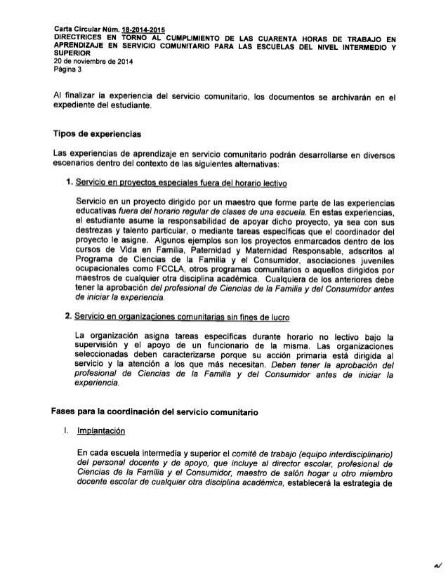 Carta circular de 40 horas de labor comunitaria