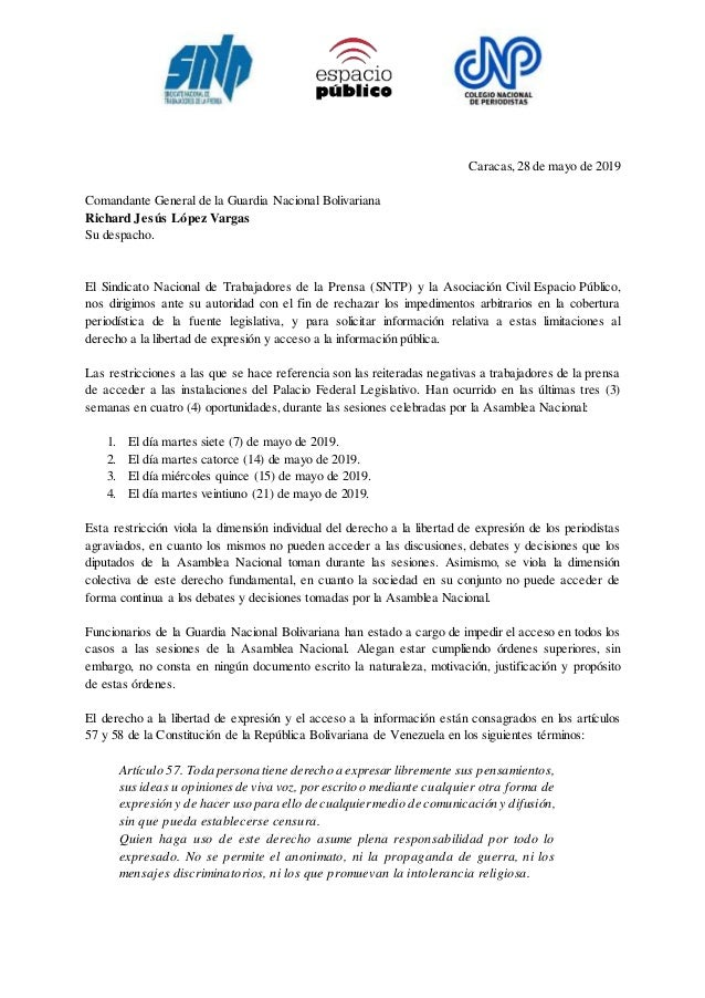 Caracas,28 de mayo de 2019 Comandante General de la Guardia Nacional Bolivariana Richard Jes�s L�pez Vargas Su despacho. E...
