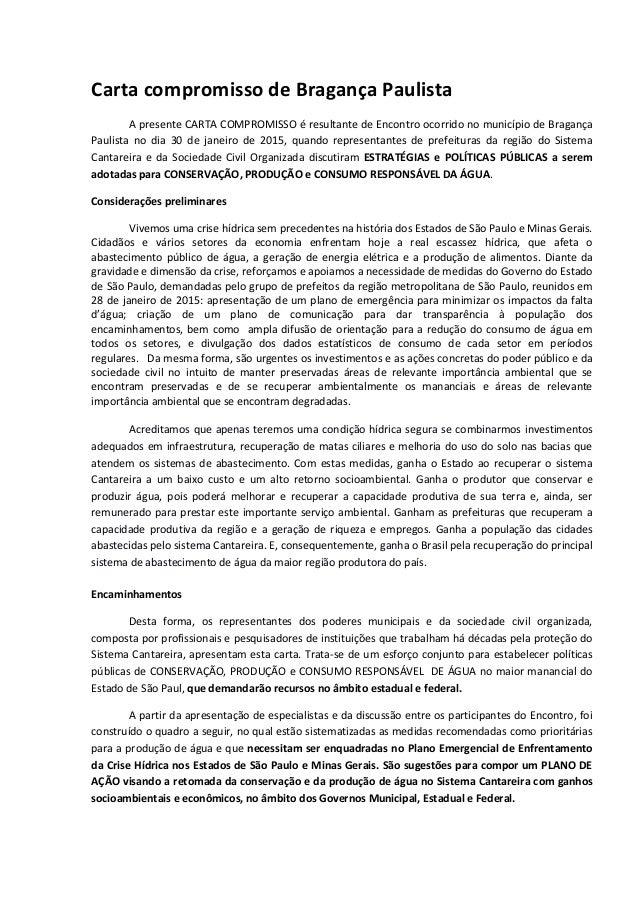 Carta compromisso de Bragança Paulista A presente CARTA COMPROMISSO é resultante de Encontro ocorrido no município de Brag...