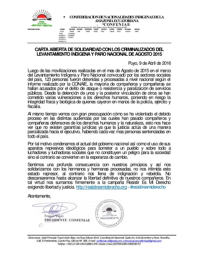 " CONFEDERACIONDENACIONALIDADESINDIGENASDELA AMAZONIAECUATORIANA  ""CONFENIAE"" CODENPE,DecretoejecutivoNo.1421,RegistroOfi..."
