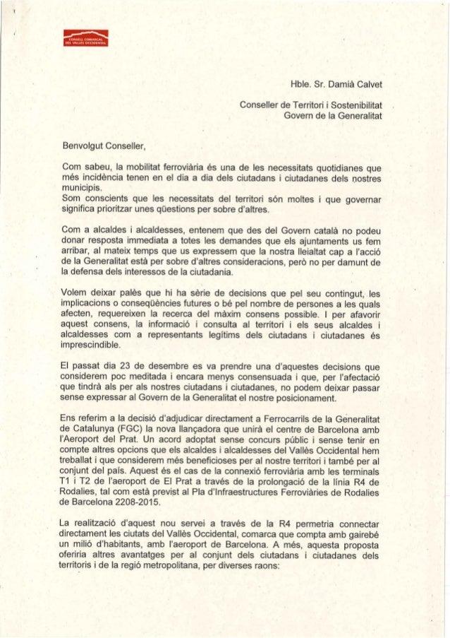 Carta del Consell Comarcal al conseller de Territori i Sostenibilitat, Damià Calvet