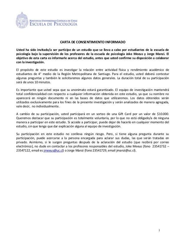 Carta consentimiento informado estudio psicología UC