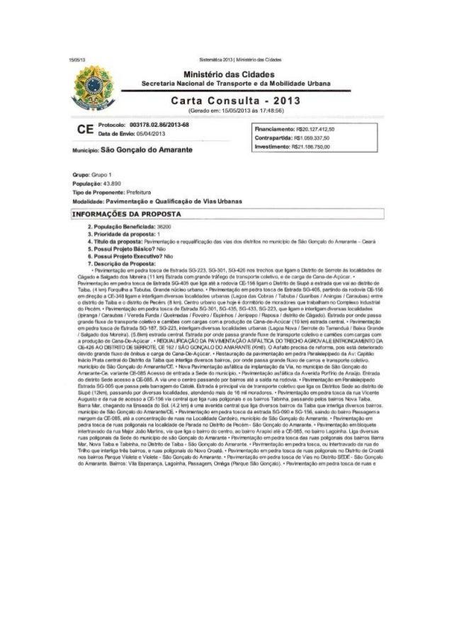Min. das Cidades: Carta consulta 2013