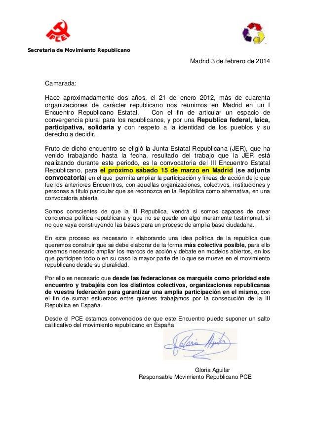Carta Convocatoria PCE III Encuentro Estatal Republicano (JER)