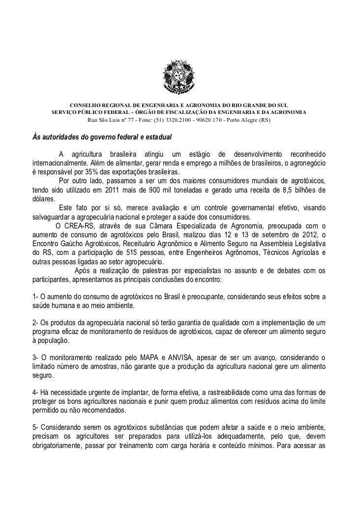 CONSELHO REGIONAL DE ENGENHARIA E AGRONOMIA DO RIO GRANDE DO SUL       SERVIÇO PÚBLICO FEDERAL – ÓRGÃO DE FIS...