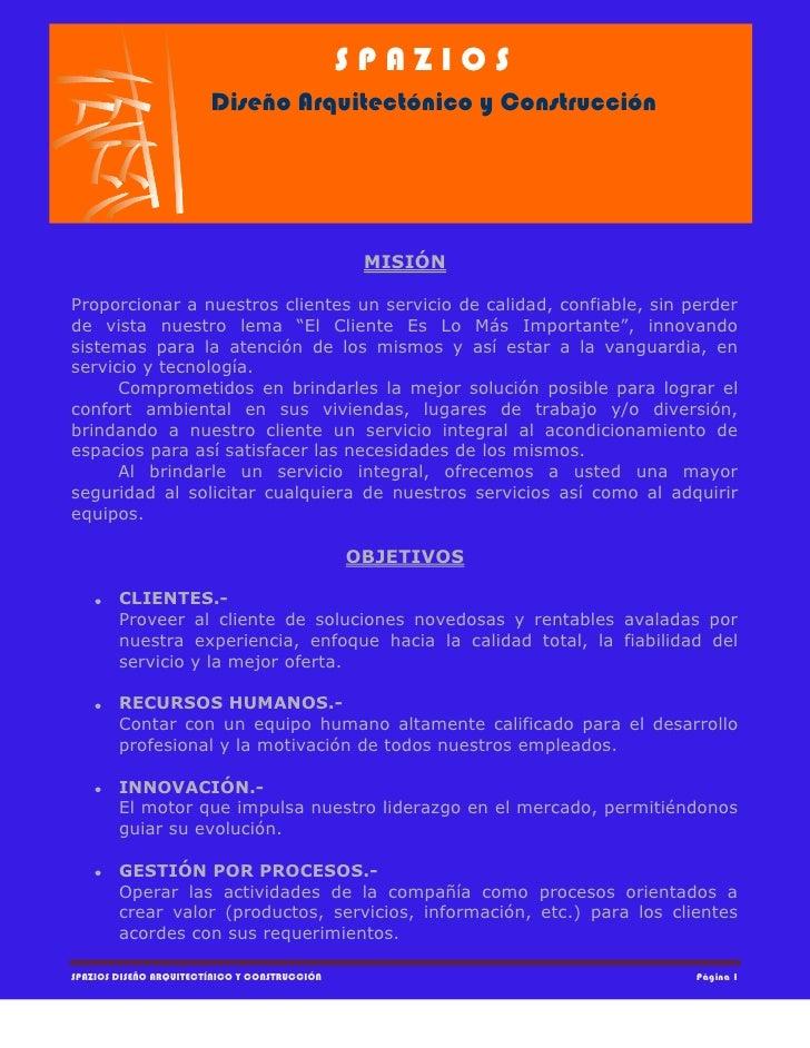 Carta de servicios spazios dise o arquitect nico y for Servicios de construccion