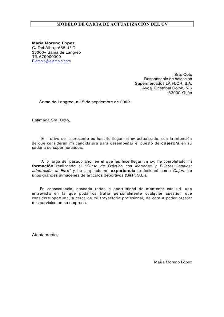 carta de actualizaci u00f3n de cv