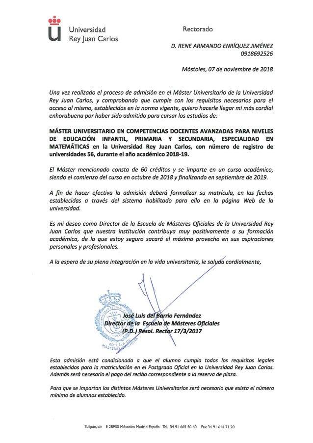 Carta de admision