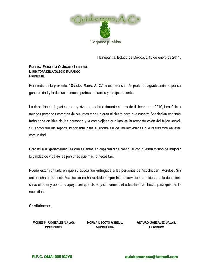 carta de agradecimiento tlalnepantla estado de mxico a 10 de enero de 2011