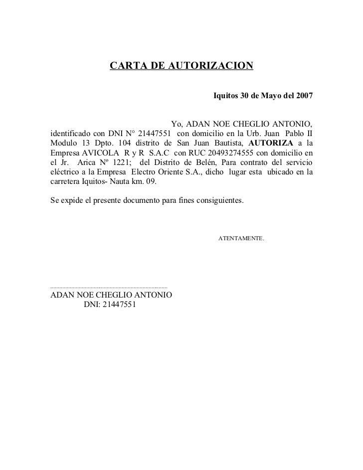 CARTA DE AUTORIZACION                                                                                  Iquitos 30 de Mayo ...