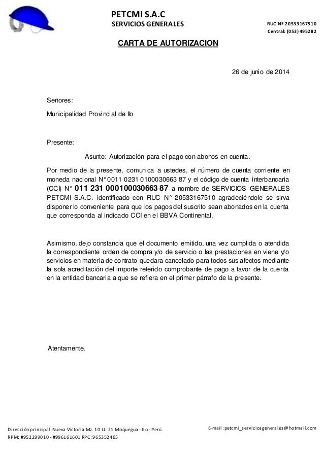 Carta de autorizacion de pagos