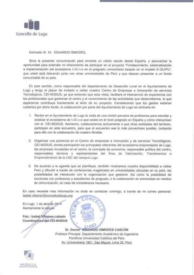 Carta de colaboración y  fortalecimiento ecosisitemas emprendedores i+d+i+e españa   perú