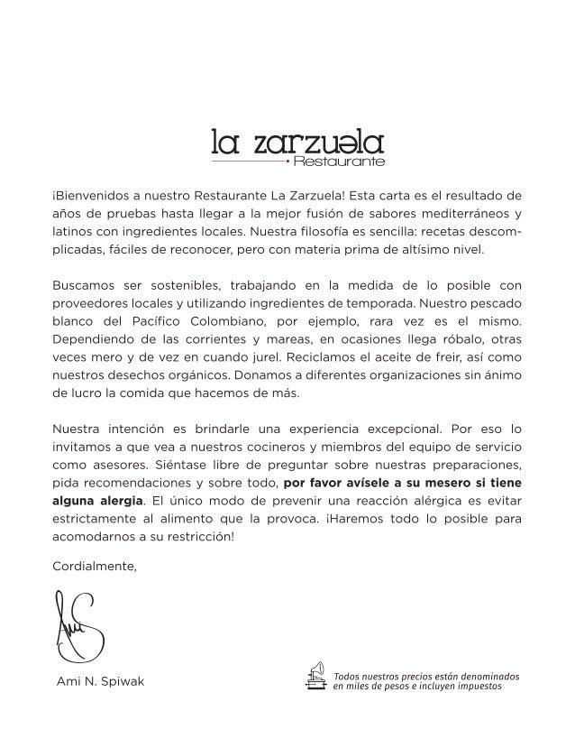 Carta de comida Restaurante La Zarzuela Hotel Spiwak