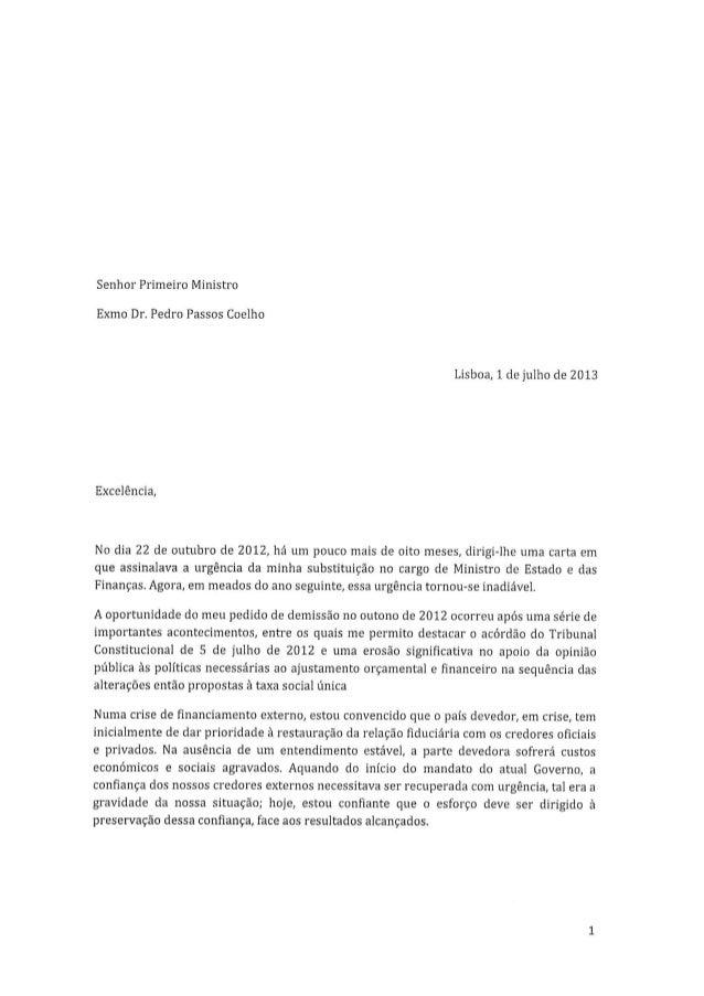 A carta de demissão de Gaspar !