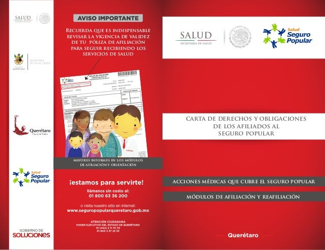carta de derechos y obligacionesde los afiliados alseguro popularacciones médicas que cubre el seguro popularmódulos de af...