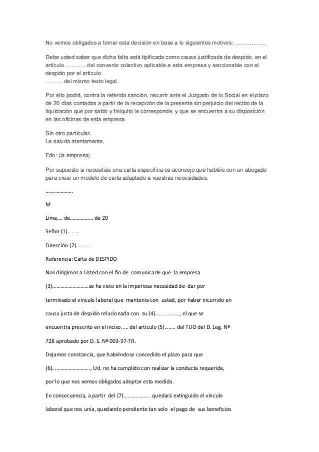 Modelo Carta De Despido Laboral