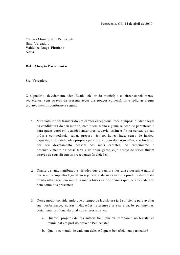 Pentecoste, CE. 14 de abril de 2010    Câmara Municipal de Pentecoste Ilma. Vereadora Valdelice Braga Firmiano Nesta.   Re...