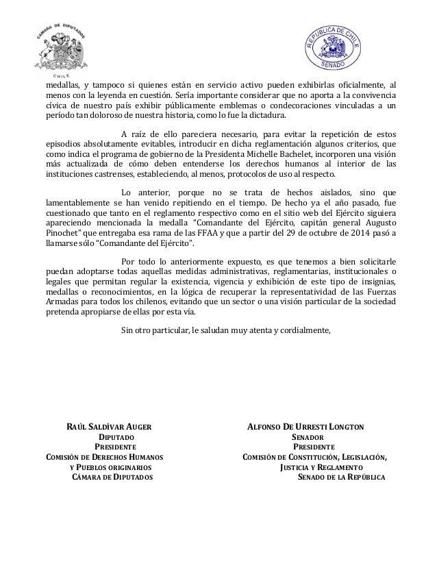 Carta al ministro de defensa por medallas golpistas for Ministerio del interior chile direccion