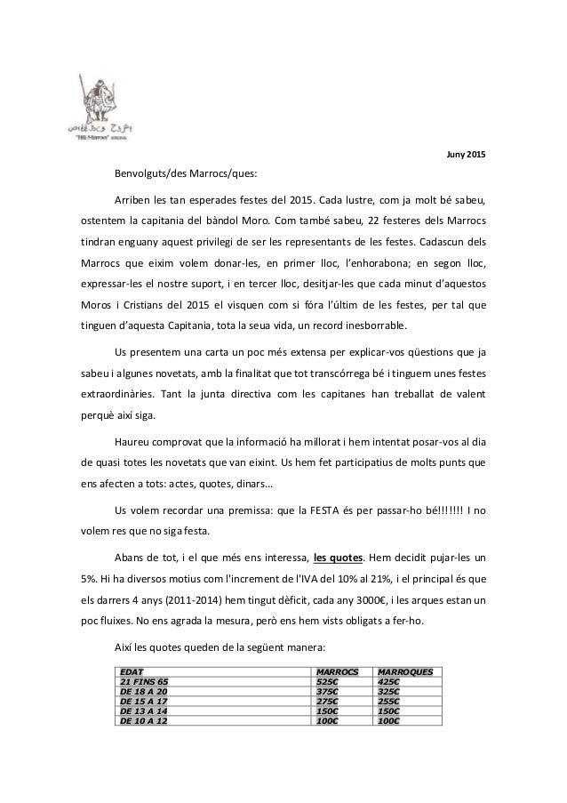 Juny 2015 Benvolguts/des Marrocs/ques: Arriben les tan esperades festes del 2015. Cada lustre, com ja molt bé sabeu, osten...
