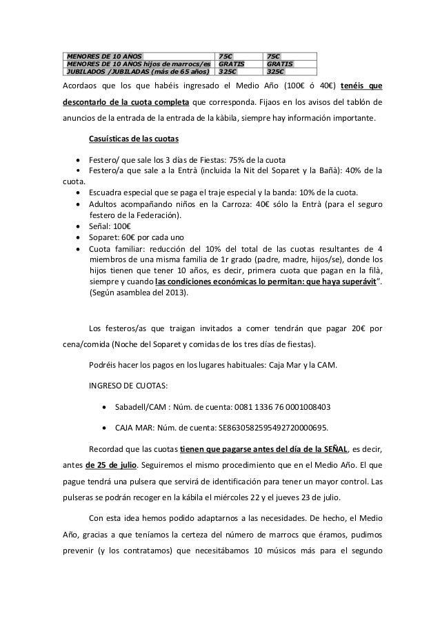 MENORES DE 10 AÑOS 75€ 75€ MENORES DE 10 AÑOS hijos de marrocs/es GRATIS GRATIS JUBILADOS /JUBILADAS (más de 65 años) 325€...