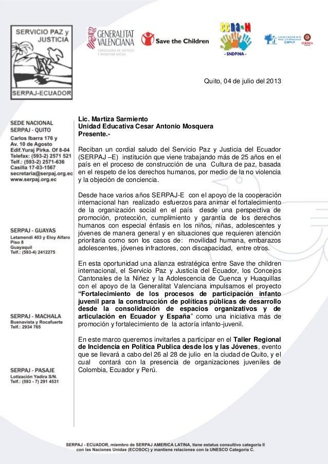 Carta de invitacion organizaciones