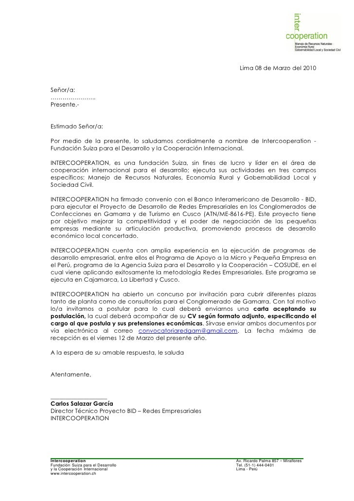 carta de exposicion de motivos formato para trabajar