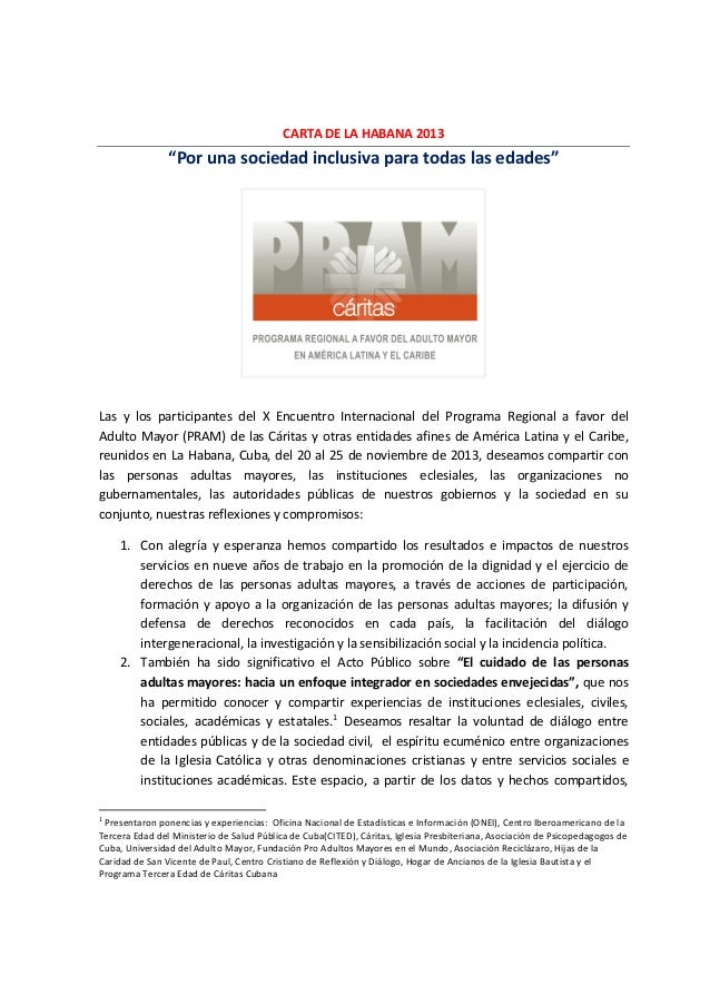 """CARTA DE LA HABANA 2013  """"Por una sociedad inclusiva para todas las edades""""  Las y los participantes del X Encuentro Inter..."""