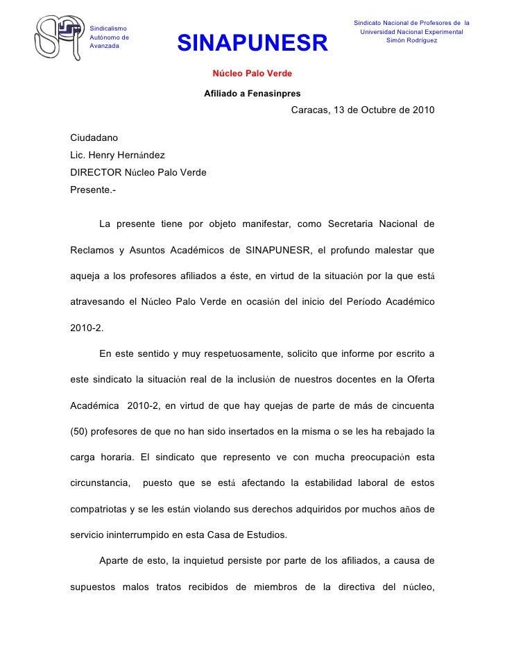 Carta De La Profesora Teresa Tachón Al Director De Palo Verde 14 De O