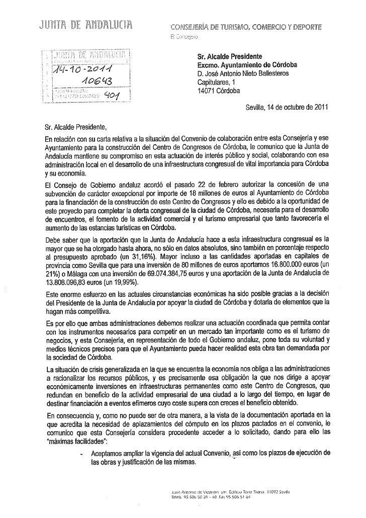 Carta de luciano alonso al alcalde de córdoba