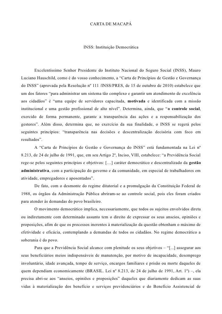 CARTA DE MACAPÁ                                   INSS: Instituição Democrática       Excelentíssimo Senhor Presidente do ...