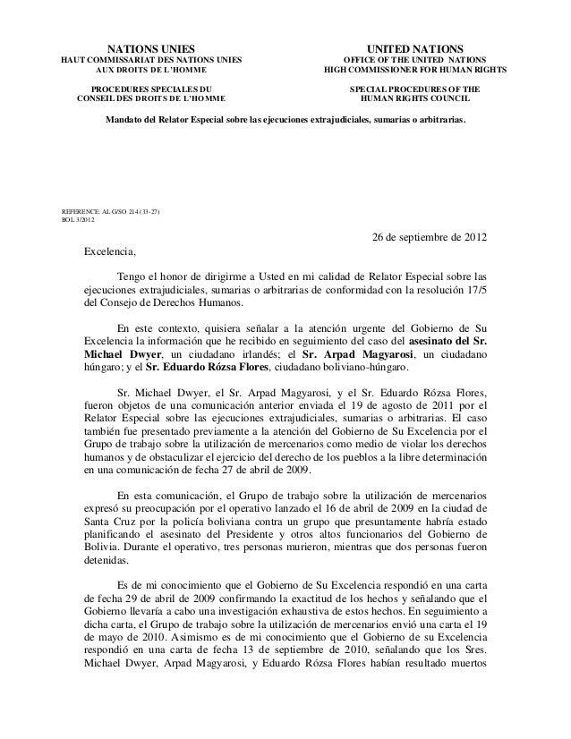Mandato del Relator Especial sobre las ejecuciones extrajudiciales, sumarias o arbitrarias. REFERENCE: AL G/SO 214 (33-27)...