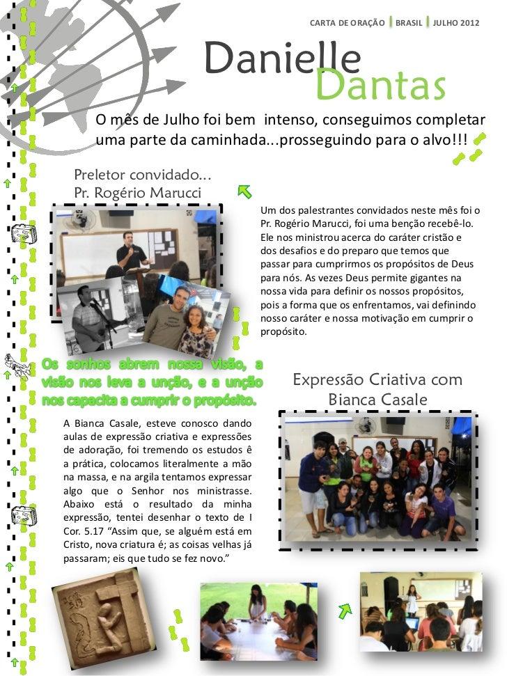 CARTA DE ORAÇÃO   BRASIL   JULHO 2012                                Danielle                                     Dantas  ...