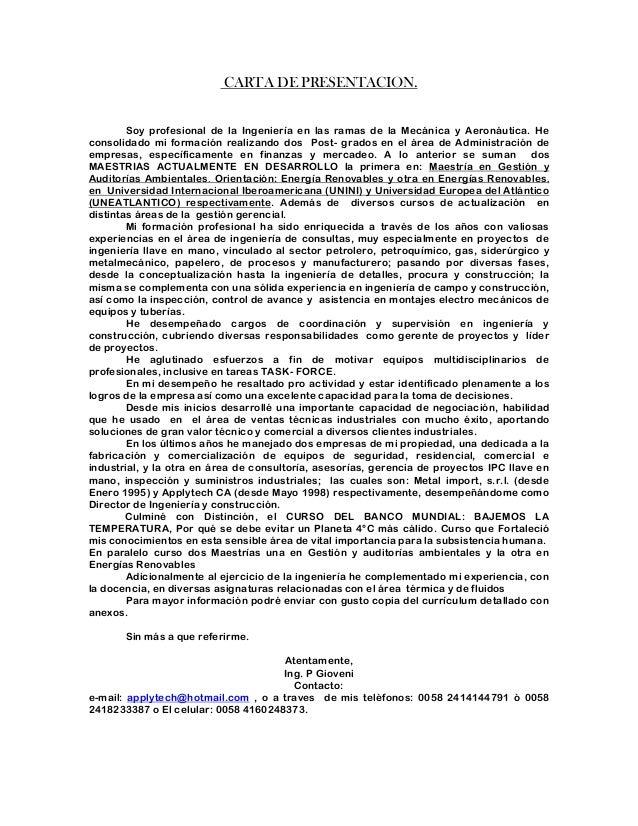 Carta De Presentación Y Cv Infoj